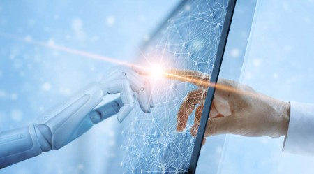 Hands of robot and human touching on global virtual network connection future interface. Artificial intelligence technology concept. 1051617224 5000x2771